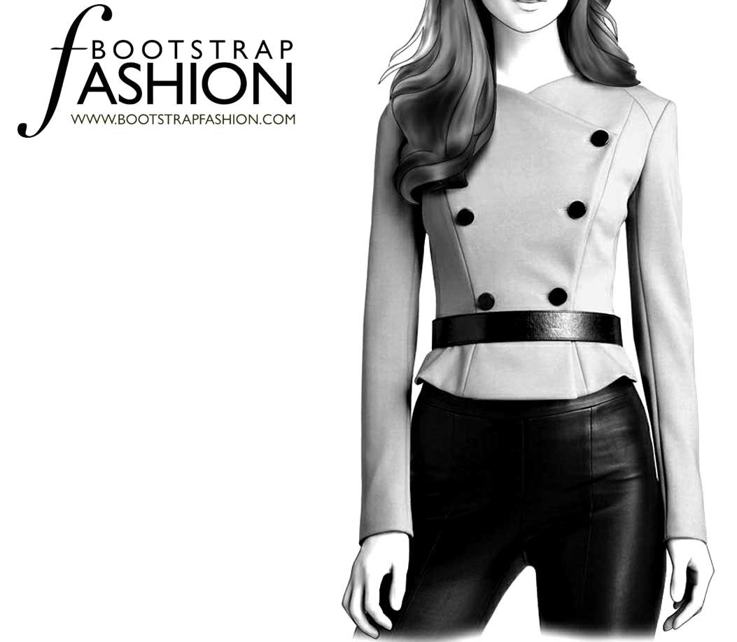 5ee9ae11a63 ... Fashion Designer Sewing Patterns - Asymmetrical Double-Breasted Jacket  ...