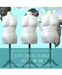 Instant PDF Download DIY Stuffed Dress Form Sewing Pattern in Standard Plus Sizes 16-28.
