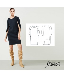 Custom-Fit Exclusive Designer Sewing Pattern - Made-To-Measure Knit Komani Cape Dress. Includes Photo Step-By-Step Sewing Instructions
