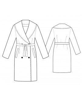 Custom-Fit Sewing Patterns - Shawl Collar Coat with Belt and Pockets