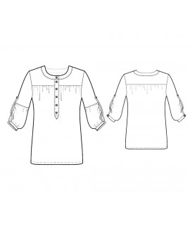 Custom-Fit Sewing Patterns - Round-Neck Button-Down Blouse with Yoke
