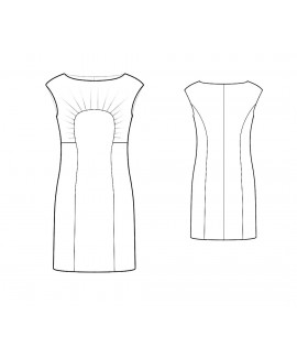 Custom-Fit Sewing Patterns - Boatneck Dress With Curved Seams and Pleats
