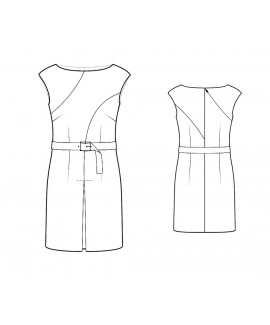 Custom-Fit Sewing Patterns - Boatneck Dress Wth Color/Print Blocked Seams, Front Pleat and Belt