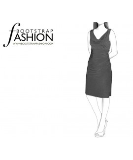 Custom-Fit Sewing Patterns - Tank Style Cowl Neck Straight Knit Dress