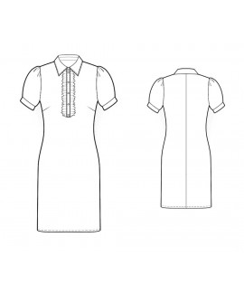 Custom-Fit Sewing Patterns - Shirt Collar Dress With Front Ruffle Closure