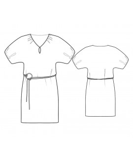 Custom-Fit Sewing Patterns  -Straight Silhouette Peasant Neck Dress With Keyhole And Bubble Sleeves