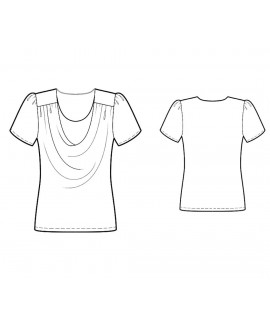 Custom-Fit Sewing Patterns - Short-Sleeved Drape-Necked Blouse