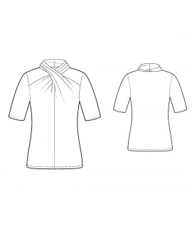 Custom-Fit Sewing Patterns - Short-Sleeved Cross-Neck Knit Top