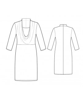 Custom-Fit Sewing Patterns -Deep Cowl Neck Knit Dress With Incet