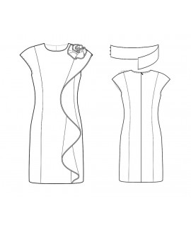 Custom-Fit Sewing Patterns - Side Ruffle Jewel Neck Sheath With Removable Belt