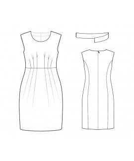 Custom-Fit Sewing Patterns - Scoop Neck Pleated Waistline And Removable Belt