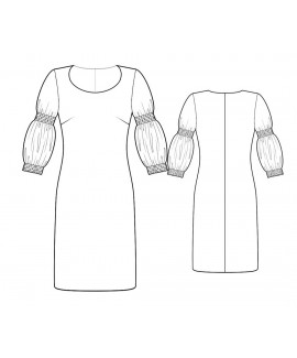 Custom-Fit Sewing Patterns - Round Deep Neck Dress With Deatiled Sleeves