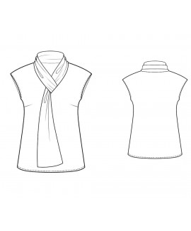 Custom-Fit Sewing Patterns - Capped-Sleeved Tie-Neck Blouse