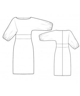 Custom-Fit Sewing Patterns - Boatneck Kimono Baloon Sleeves Dress