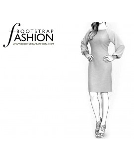 Custom-Fit Sewing Patterns - Chiffon Raglan Sleeves Knit Dress