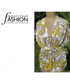 Custom-Fit Sewing Patterns - Drop Sleeve Draped-Neck Blouse