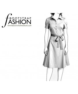 Custom-Fit Sewing Patterns - Puff Sleeves Shirt Dress