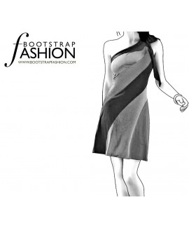 Custom-Fit Sewing Patterns - One Shoulder Color/Print Blocked Dress