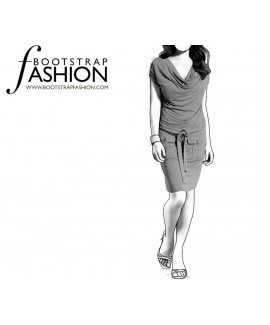 Custom-Fit Sewing Patterns - Cowl Neck Dress With Pockets