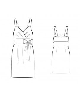 Custom-Fit Sewing Patterns - Surplice Draped Bodice Dress With Wide Set-in Waistband