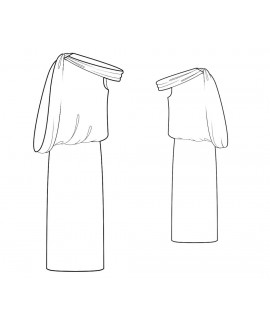 Custom-Fit Sewing Patterns - Asymmetrical Neckline Dropped Shoulder Dress