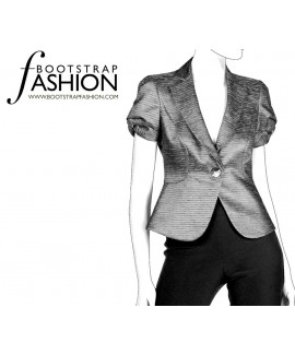Custom-Fit Sewing Patterns - Short-Sleeved One-Button Fitted Jacket