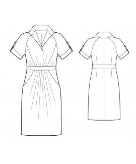 Custom-Fit Sewing Patterns - Raglan Sleeves Draped Shirt Dress