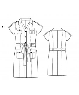 Custom-Fit Sewing Patterns - Button Front Shirt Dress With Ties