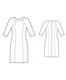 Custom-Fit Sewing Patterns - Raglan Sleeves Print/Color Block Knit Dress