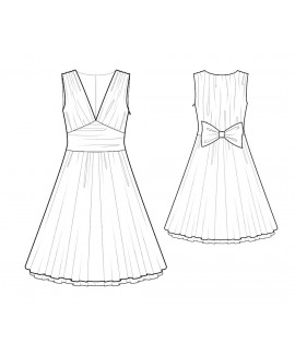 Custom-Fit Sewing Patterns - V Neck Sleeveless Dress With Full Skirt