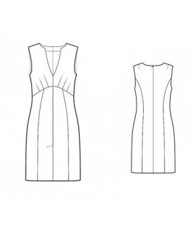 Custom-Fit Sewing Patterns - Split Neck Front Vent Sleeveless Dress