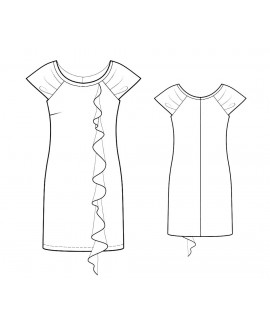 Custom-Fit Sewing Patterns - Wide Scoop Neck Cascading Front Knit Dress
