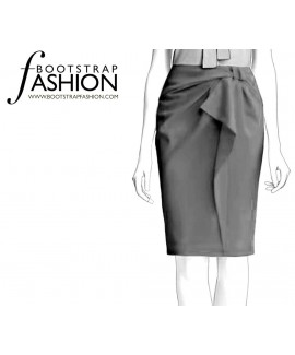 Custom-Fit Sewing Patterns - Structured Ruffle Front Pencil Skirt