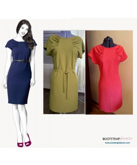 Custom-Fit Sewing Patterns - Dropped Shoulder Boat Neck Dress