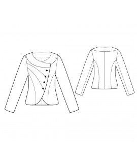 Custom-Fit Sewing Patterns - Round-Neck Asymmetrical Front Jacket