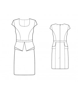 Custom-Fit Sewing Patterns - Scoop Neck Origami Peplum Sheath