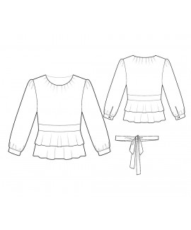 Custom-Fit Sewing Patterns - Round-Neck Double Peplum Blouse