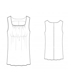 Custom-Fit Sewing Patterns - Square Neck Empire Waist Knit Tank