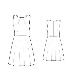 Custom-Fit Sewing Patterns - Pleated Crew Neck A-Line Skirt Dress