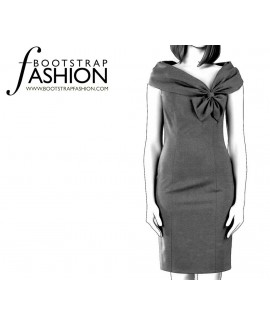 Custom-Fit Sewing Patterns - Asymmetrical Neckline Fitted Sheath