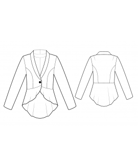 Custom-Fit Sewing Patterns - Long-Sleeved Fitted Jacket with Peplum Fish Tail