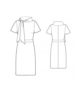 Custom-Fit Sewing Patterns - Scarf Collar Knit Dress