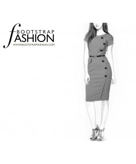 Custom-Fit Sewing Patterns - Asymmetrical Button Closure Sheath