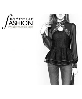 Custom-Fit Sewing Patterns - Blouse With Peplum And Poet Sleeves