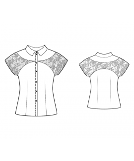 Custom-Fit Sewing Patterns - Button Down Blouse With Lace Sleeves