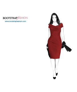 Custom-Fit Sewing Patterns - Asymmetrical Off-Shoulder Dress