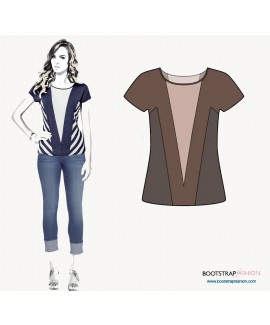 Custom-Fit Sewing Patterns - Color Blocked Knit Top