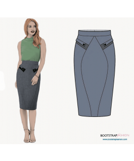 Custom-Fit Sewing Patterns - Skirt With Front Pockets And Back Yoke