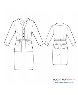 Custom-Fit Sewing Patterns - Shirt Dress With Mandarin Collar