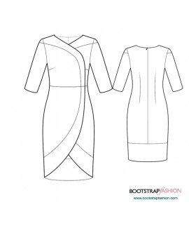 Custom-Fit Sewing Patterns - Wrap Dress Contrast Trim